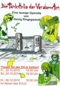 """Das Plakat der Operette """"Die Tankstelle der Verdammten"""""""